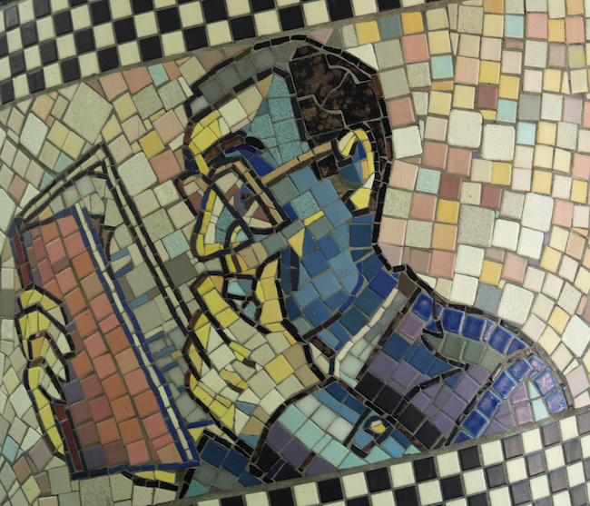 Reading Man Detail, George F. Fishman's 1991 Mosaic Faces Of Flower Avenue (Silver Spring, MD)