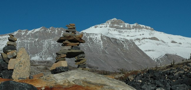 image of Inuksuk sculpture from the Athabasca Glacier, taken by James Pratley