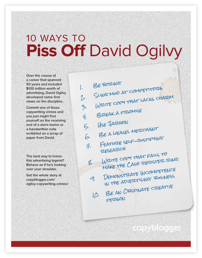 10 Ways to Piss Off David Ogilvy (Free Poster)