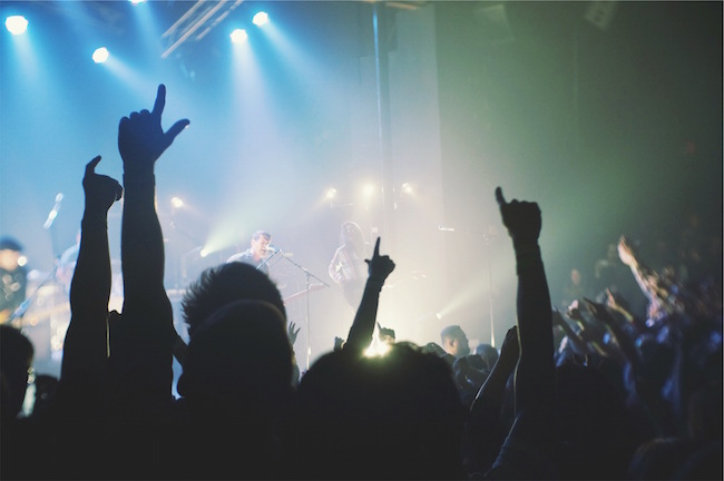 engaged audience at a rock concert