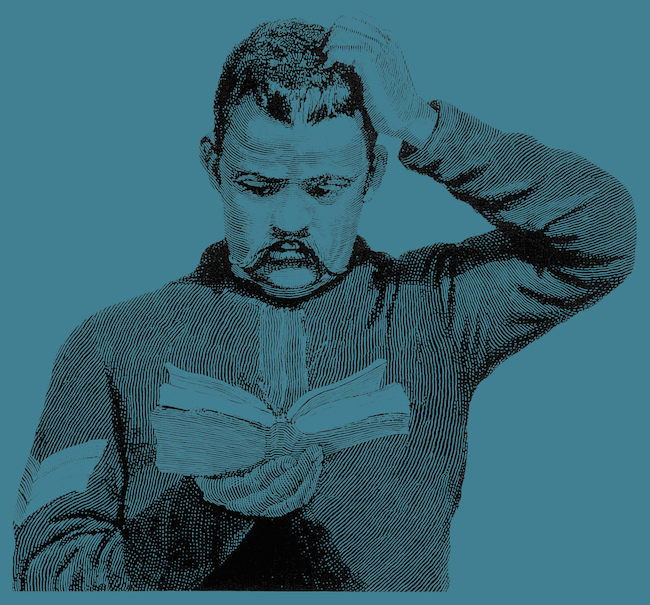 drawing of a man scratching his head while reading a book on a solid teal background
