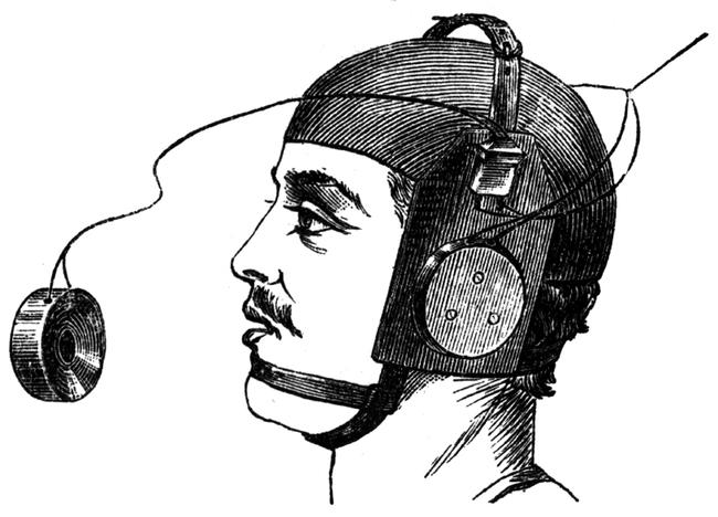 Image of Man Wearing Victorian Headphones