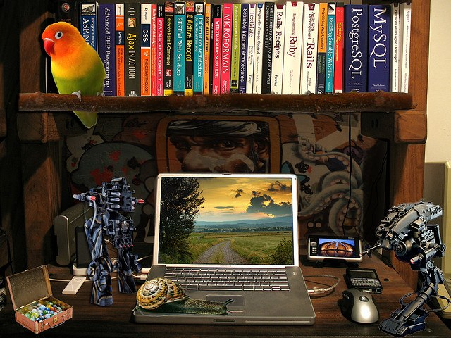 image of colorful writer's desk