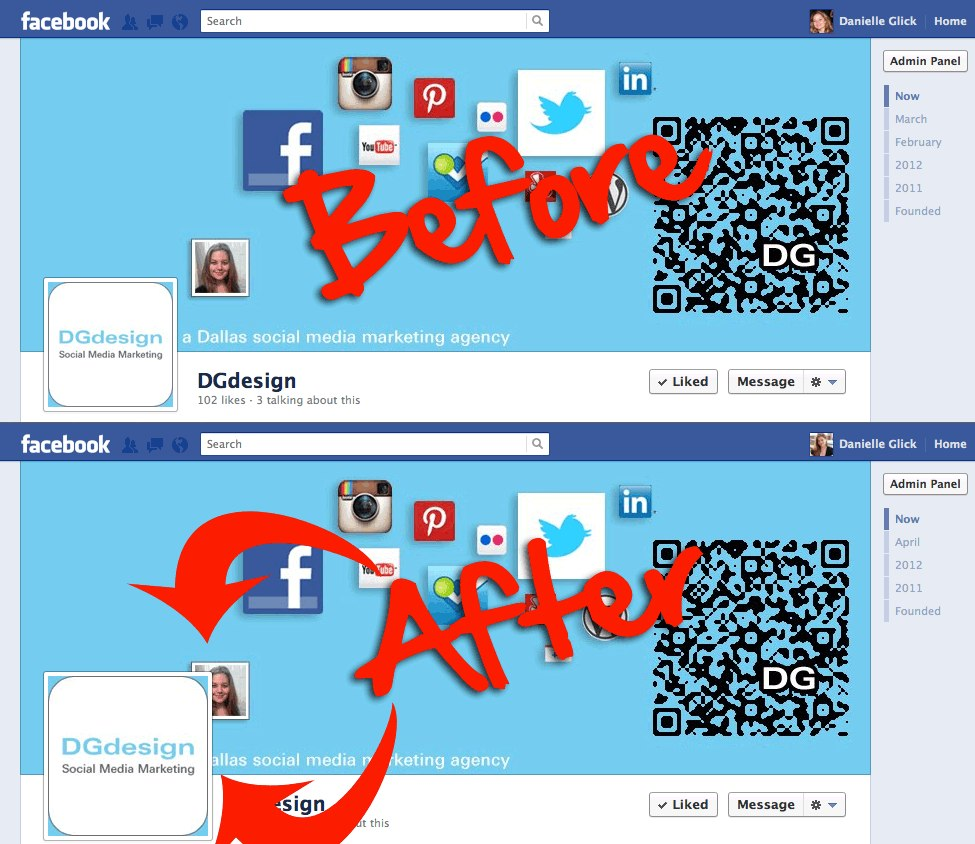 Before-and-after image for Facebook Timeline cover
