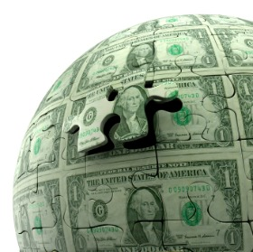 Image of a globe made of dollar bills