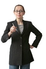image of a woman holding a pen