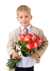 image of boy giving flowers