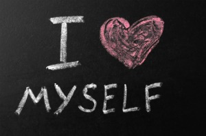 Image of blackboard with the words I heart myself