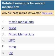 Related keywords for mixed martial arts