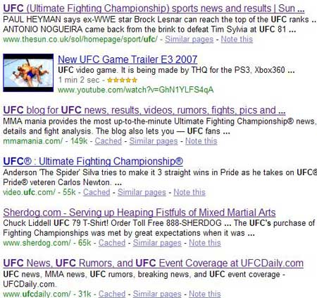 Google UFC results