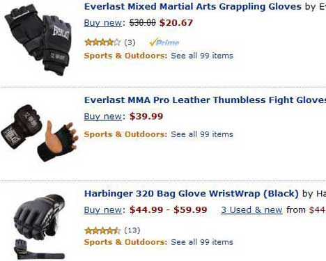 MMA gloves results in Amazon