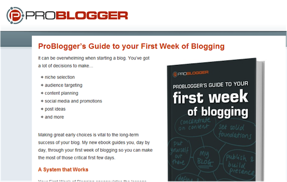 image of problogger first week of blogging page