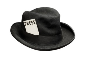 image of hat with press pass