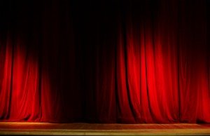 image of red velvet curtains