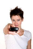 image of a woman with a remote control