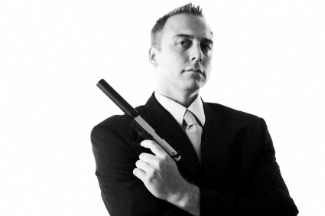 image of spy with gun