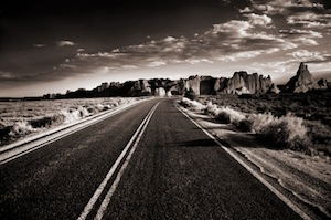 image of winding desert road