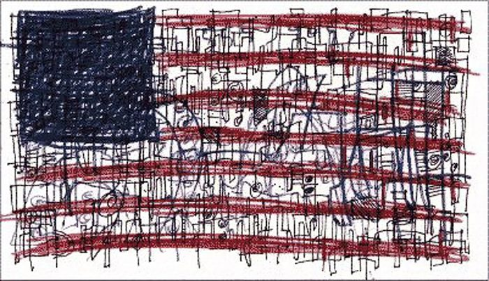 american flag art by hugh macleod