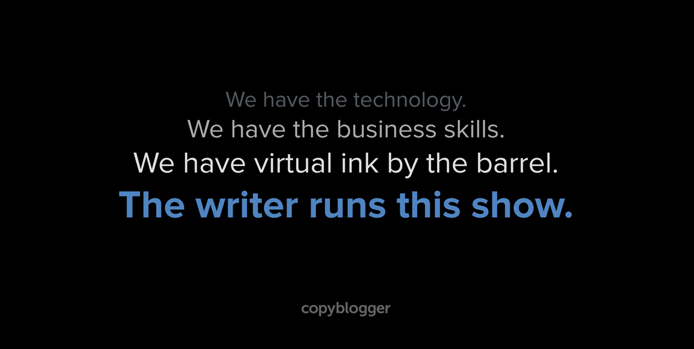The Writer Runs This Show [SlideShare]