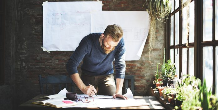 Man working on content marketing strategy