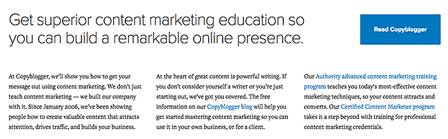 Copyblogger home page