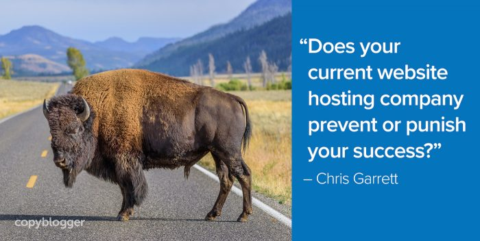 """Does your current website hosting company prevent or punish your success?"" – Chris Garrett"