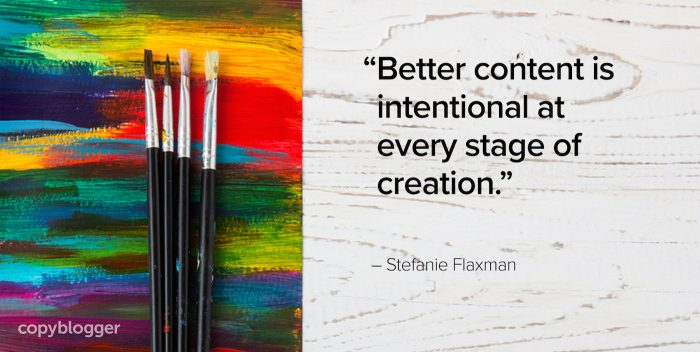 """Better content is intentional at every stage of creation."" – Stefanie Flaxman"
