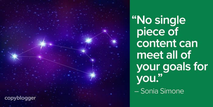 """""""No single piece of content can meet all of your goals for you."""" – Sonia Simone"""