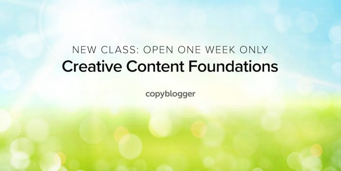 new class: open one week only, creative content foundations