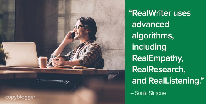 RealWriter uses advanced algorithms, including RealEmpathy, RealReasearch, and RealListening
