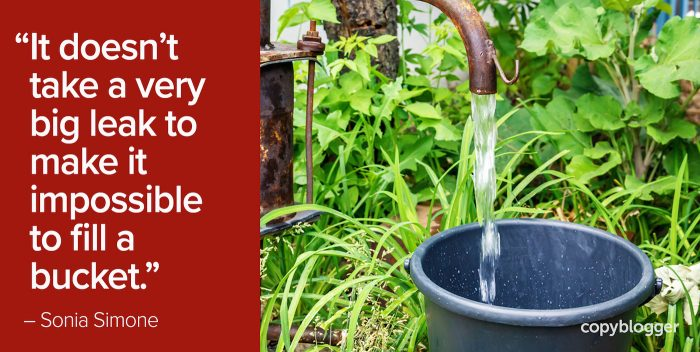 """""""It doesn't take a very big leak to make it impossible to fill a bucket."""" – Sonia Simone"""