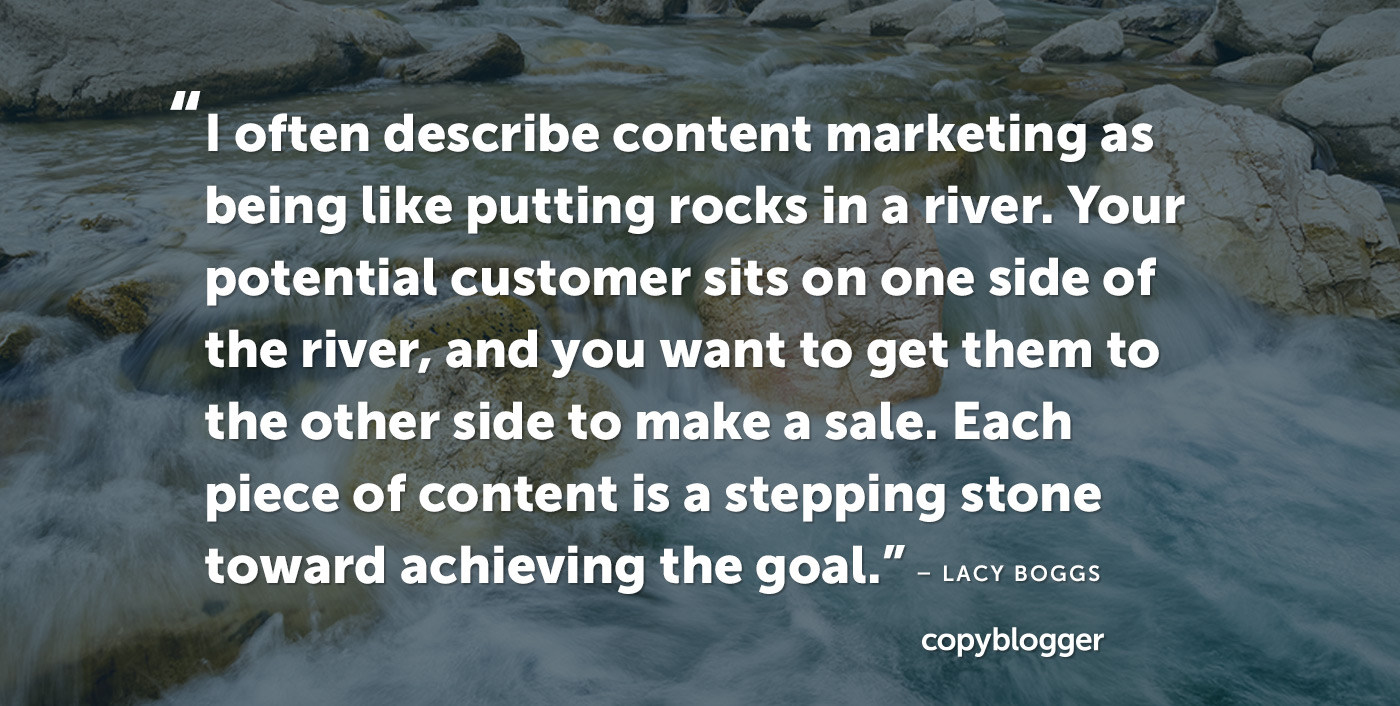 """""""I often describe content marketing as being like putting rocks in a river. Your potential customer sits on one side of the river, and you want to get them to the other side to make a sale. Each piece of content is a stepping stone toward achieving the goal."""" – Lacy Boggs"""