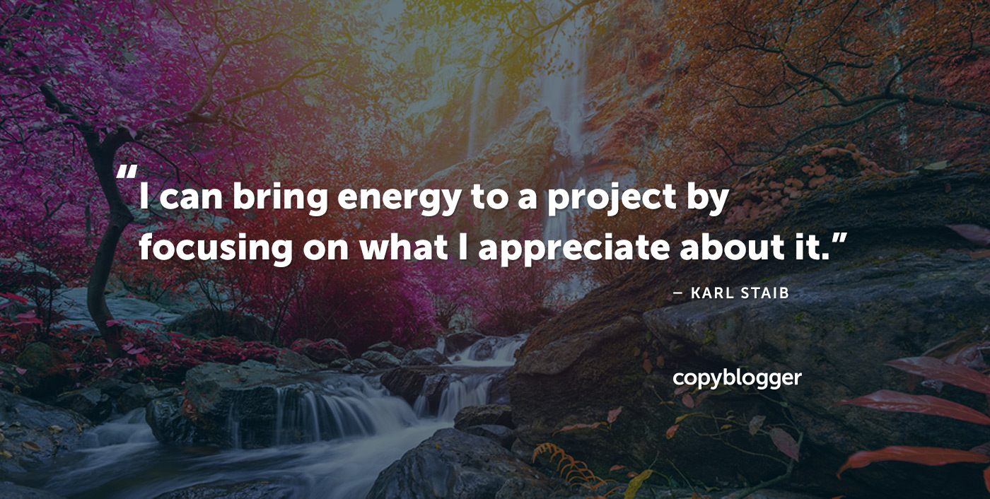 I can bring energy to a project by focusing on what I appreciate about it. – Karl Staib